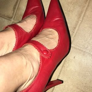 NYLA red leather Mary Jane style heels.